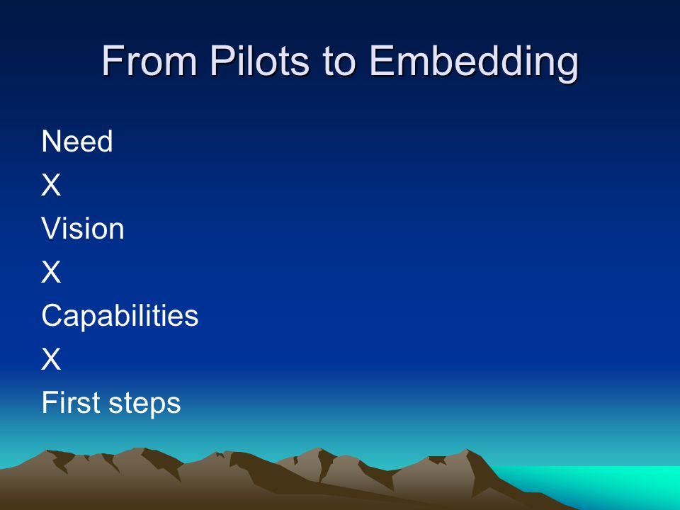 From Pilots to Embedding Need X Vision X Capabilities X First steps