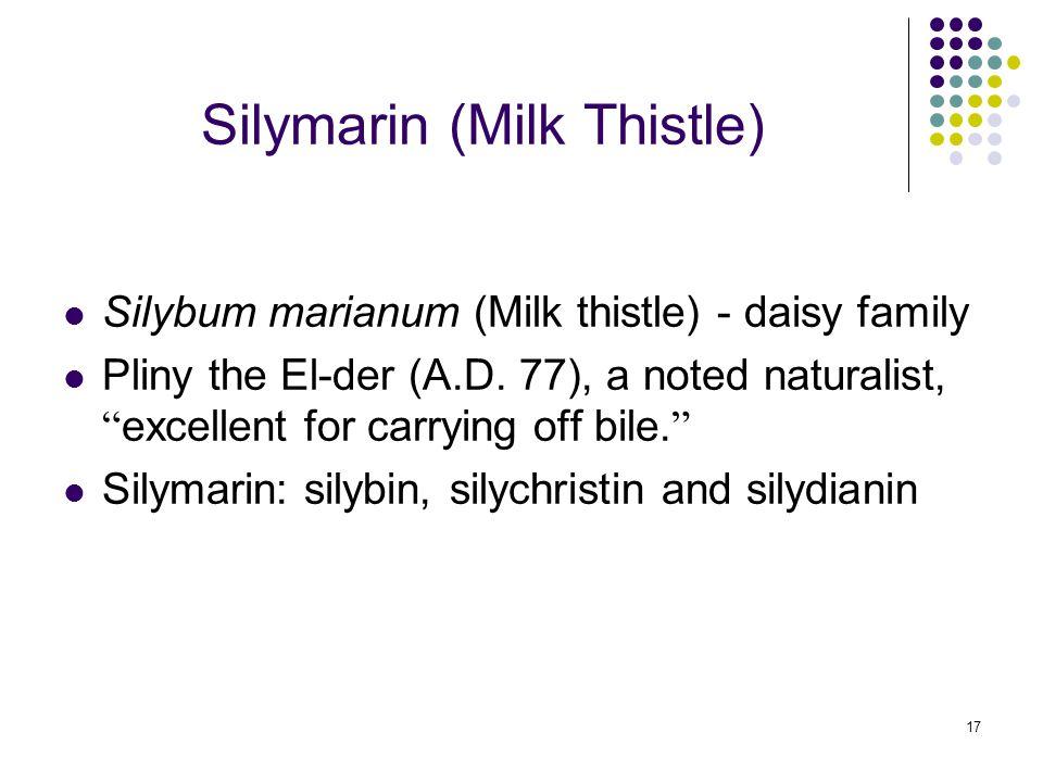 17 Silymarin (Milk Thistle) Silybum marianum (Milk thistle) - daisy family Pliny the El-der (A.D.