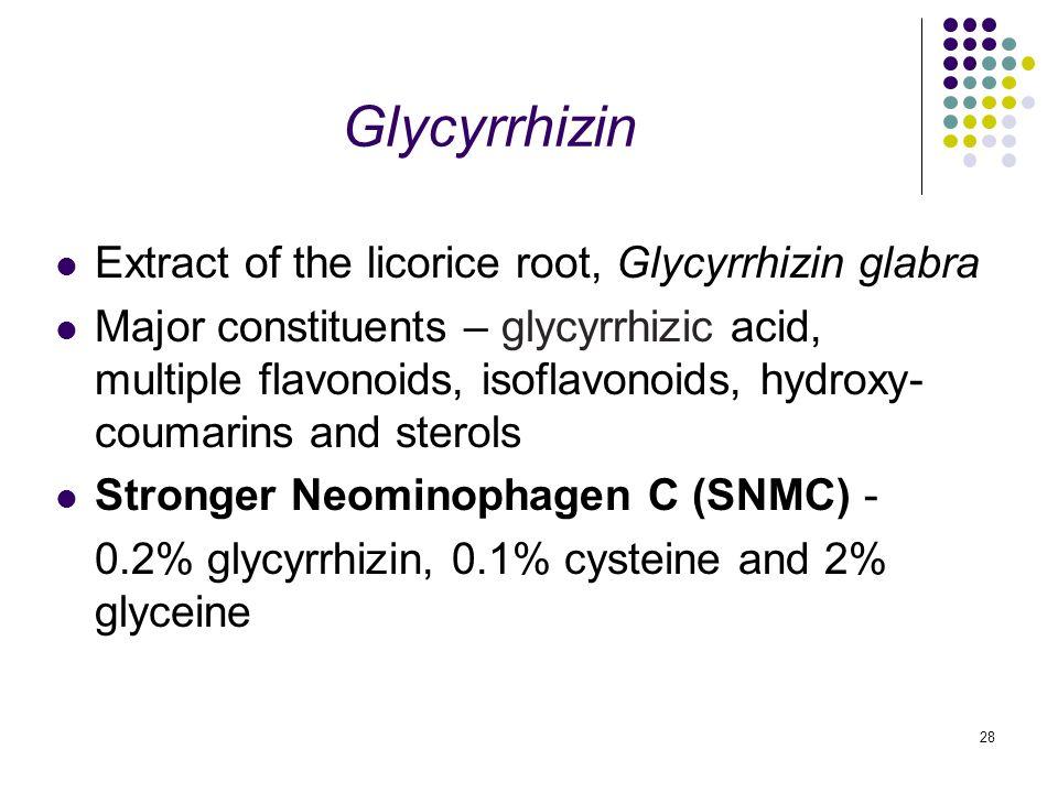 28 Glycyrrhizin Extract of the licorice root, Glycyrrhizin glabra Major constituents – glycyrrhizic acid, multiple flavonoids, isoflavonoids, hydroxy- coumarins and sterols Stronger Neominophagen C (SNMC) - 0.2% glycyrrhizin, 0.1% cysteine and 2% glyceine