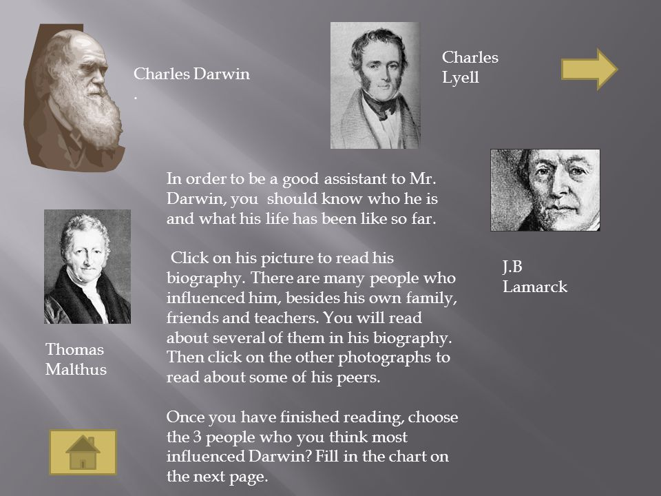 In order to be a good assistant to Mr. Darwin, you should know who he is and what his life has been like so far. Click on his picture to read his biog