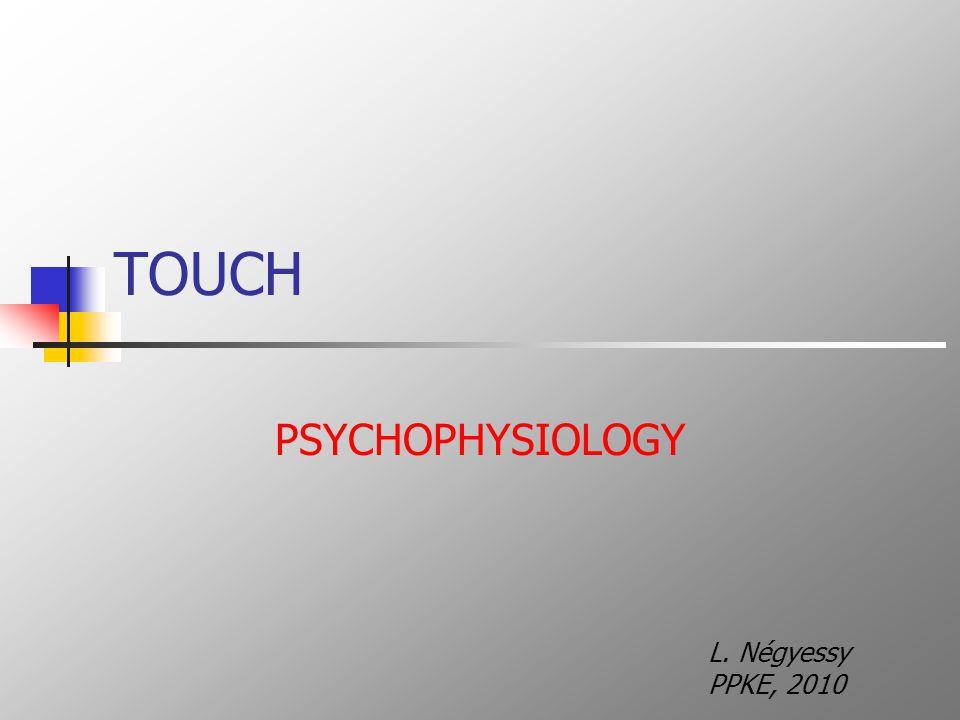 TOUCH PSYCHOPHYSIOLOGY L. Négyessy PPKE, 2010