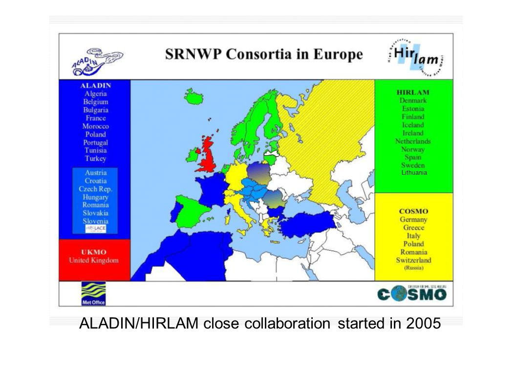 ALADIN/HIRLAM close collaboration started in 2005 Lithuania