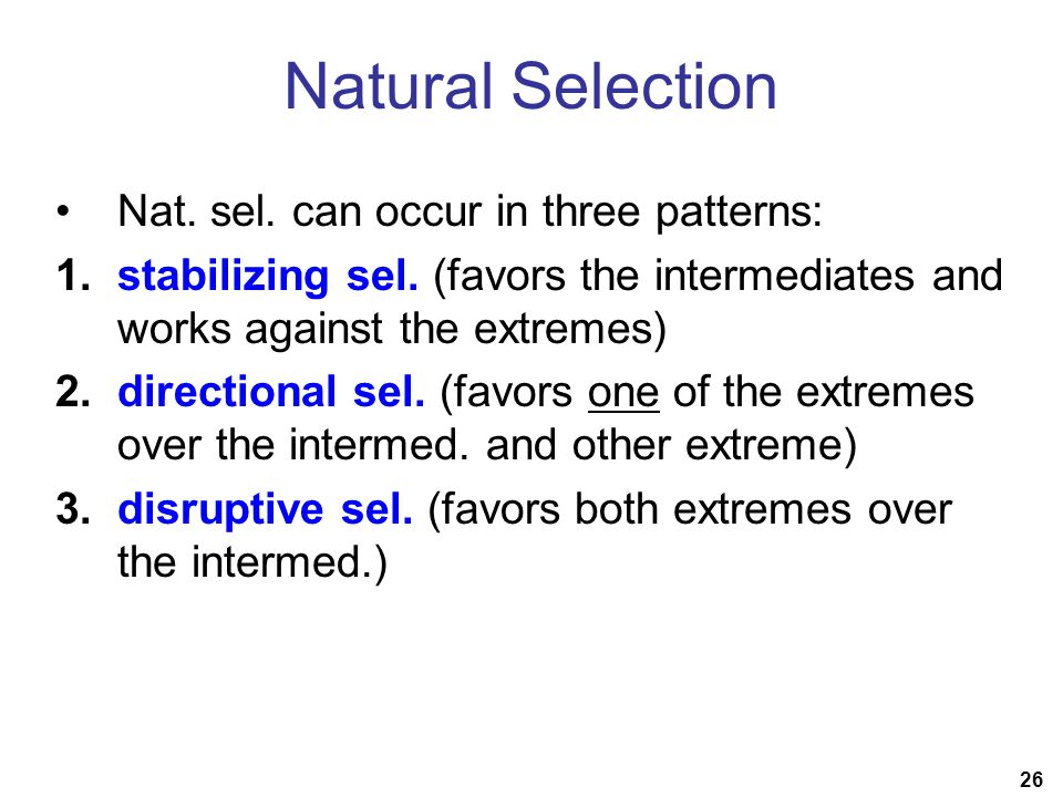 26 Natural Selection Nat. sel. can occur in three patterns: 1.stabilizing sel.