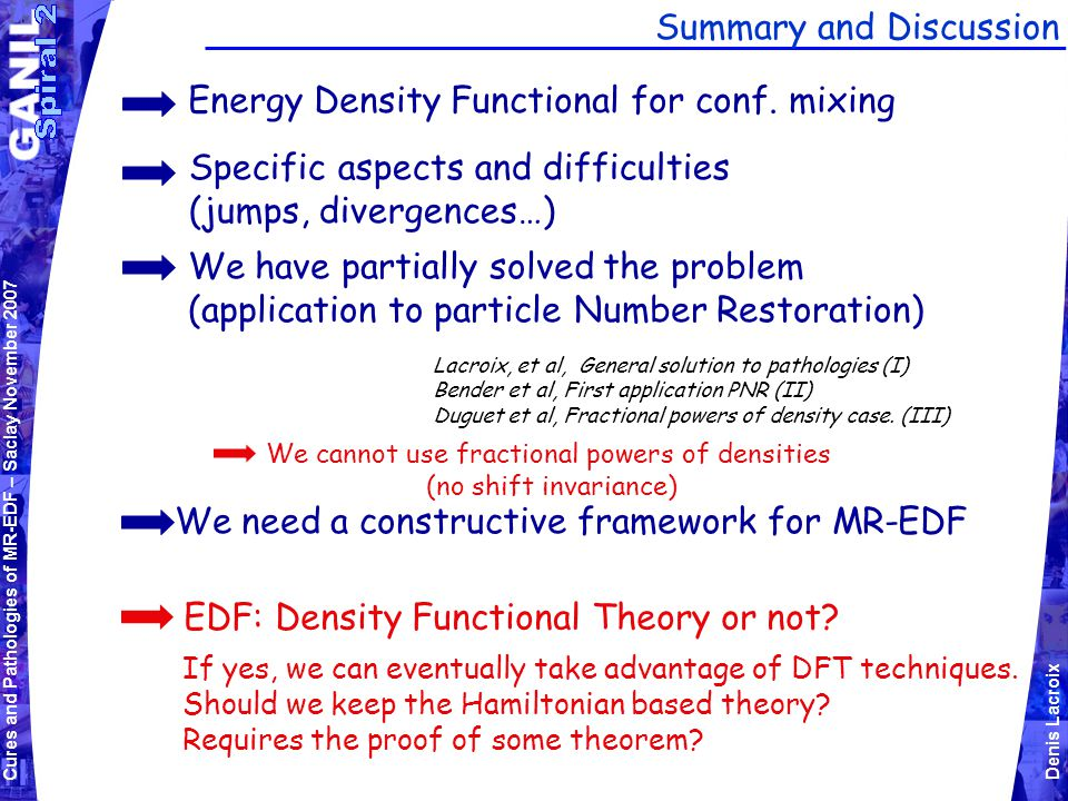 Cures and Pathologies of MR-EDF – Saclay November 2007 Denis Lacroix Summary and Discussion Energy Density Functional for conf.