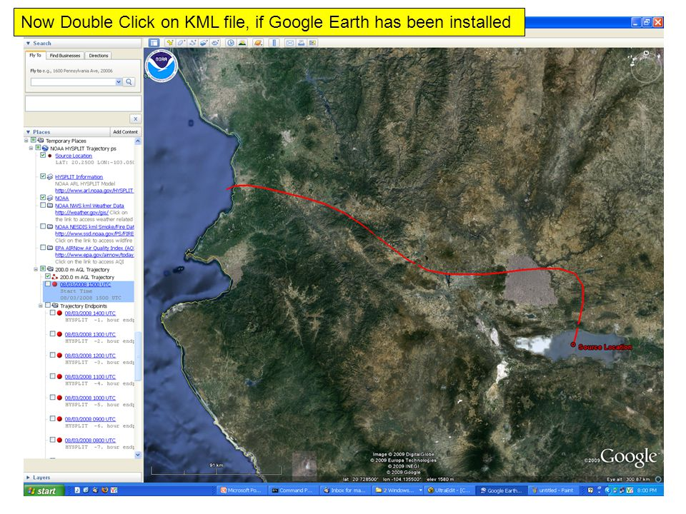 Now Double Click on KML file, if Google Earth has been installed