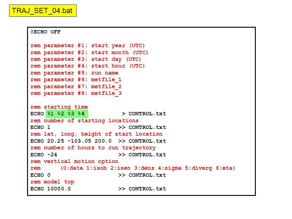 @ECHO OFF rem parameter #1: start year (UTC) rem parameter #2: start month (UTC) rem parameter #3: start day (UTC) rem parameter #4: start hour (UTC) rem parameter #5: run name rem parameter #6: metfile_1 rem parameter #7: metfile_2 rem parameter #8: metfile_3 rem starting time ECHO %1 %2 %3 %4 > CONTROL.txt rem number of starting locations ECHO 1 >> CONTROL.txt rem lat, long, height of start location ECHO 20.25 -103.05 200.0 >> CONTROL.txt rem number of hours to run trajectory ECHO -24 >> CONTROL.txt rem vertical motion option rem(0:data 1:isob 2:isen 3:dens 4:sigma 5:diverg 6:eta) ECHO 0 >> CONTROL.txt rem model top ECHO 10000.0 >> CONTROL.txt TRAJ_SET_04.bat