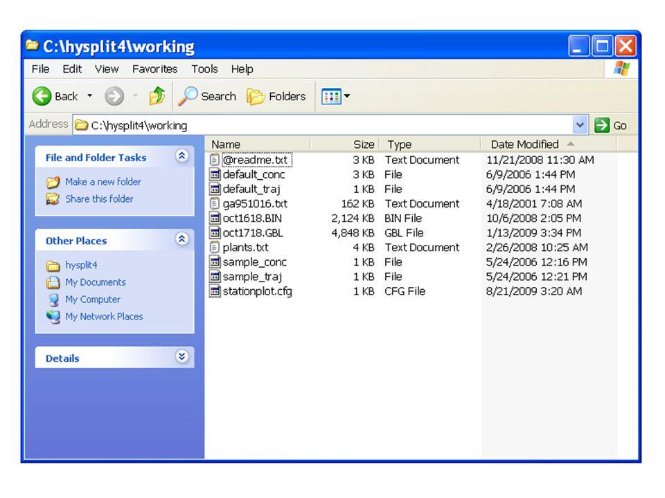 There are two new files present:  Trajplot.ps  HYSPLITtraj_ps_01.kml
