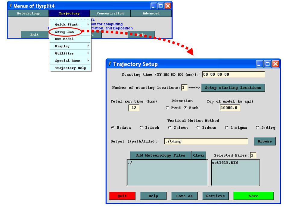 call TRAJ_SET_04 08 08 03 15 LC_n0001_UTC_2008_08_03_15 edas.jul08.002 edas.aug08.001 edas.aug08.002 TRAJ_SET_04 is the batch file we were just discussing It is called from the batch file: TRAJ_RUN_04.bat Start year Start month Start day Start hour run name Meteorological data file #1 Meteorological data file #2 Meteorological data file #3 call TRAJ_SET_04 808 03 15 LC_UTC_2008_08_03_15 edas.jul08.002 edas.aug08.001 edas.aug08.002 TRAJ_RUN_04.bat