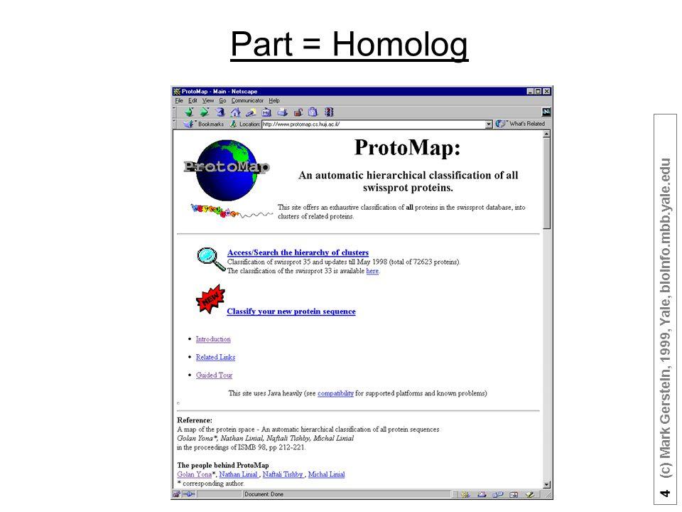 4 (c) Mark Gerstein, 1999, Yale, bioinfo.mbb.yale.edu Part = Homolog