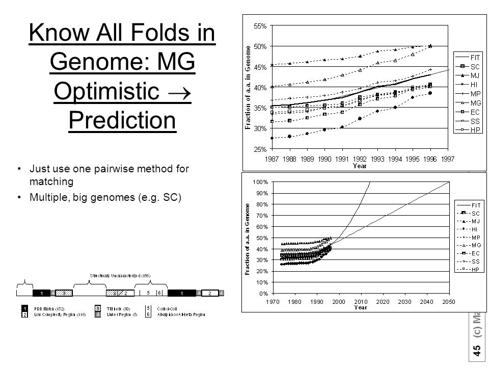 45 (c) Mark Gerstein, 1999, Yale, bioinfo.mbb.yale.edu Know All Folds in Genome: MG Optimistic  Prediction Just use one pairwise method for matching Multiple, big genomes (e.g.