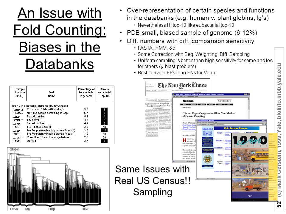 52 (c) Mark Gerstein, 1999, Yale, bioinfo.mbb.yale.edu An Issue with Fold Counting: Biases in the Databanks Over-representation of certain species and functions in the databanks (e.g.