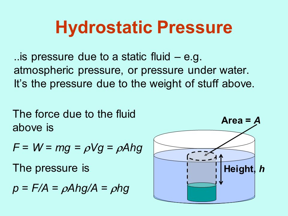 Hydrostatic Pressure..is pressure due to a static fluid – e.g.