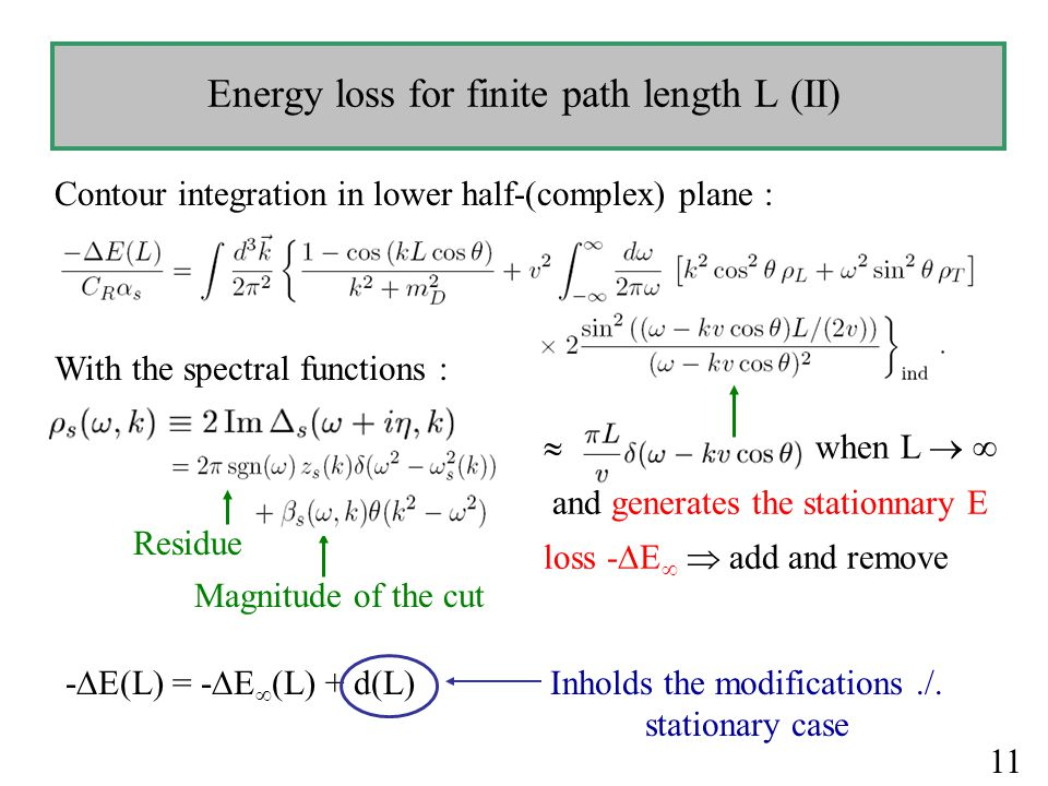 Energy loss for finite path length L (II) Contour integration in lower half-(complex) plane :  when L   and generates the stationnary E loss -  E   add and remove With the spectral functions : Residue Magnitude of the cut Inholds the modifications./.