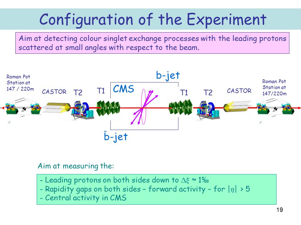 19 Configuration of the Experiment b-jet CMS - Leading protons on both sides down to   1 ‰ - Rapidity gaps on both sides – forward activity – for |