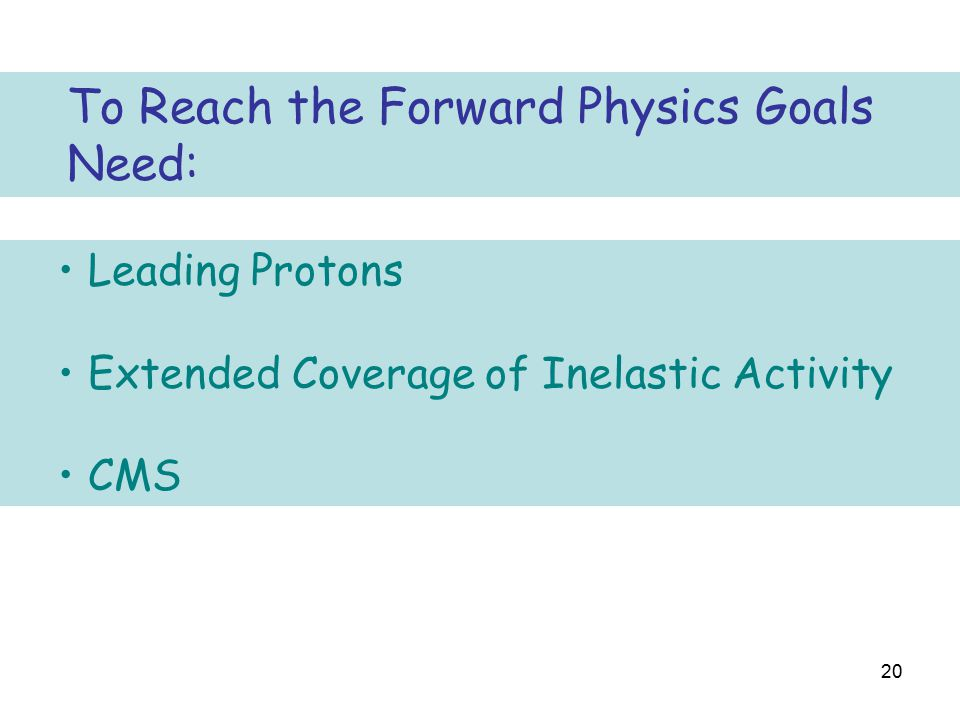 20 Leading Protons Extended Coverage of Inelastic Activity CMS To Reach the Forward Physics Goals Need: