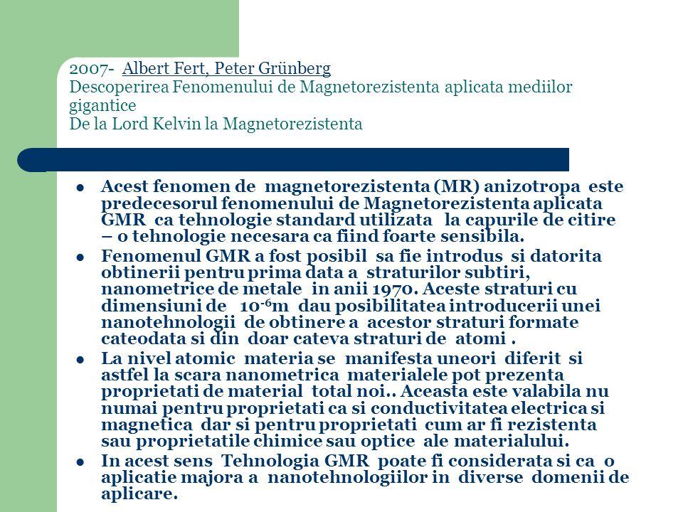 2007- Albert Fert, Peter Grünberg Descoperirea Fenomenului de Magnetorezistenta aplicata mediilor gigantice De la Lord Kelvin la MagnetorezistentaAlbert Fert, Peter Grünberg Acest fenomen de magnetorezistenta (MR) anizotropa este predecesorul fenomenului de Magnetorezistenta aplicata GMR ca tehnologie standard utilizata la capurile de citire – o tehnologie necesara ca fiind foarte sensibila.
