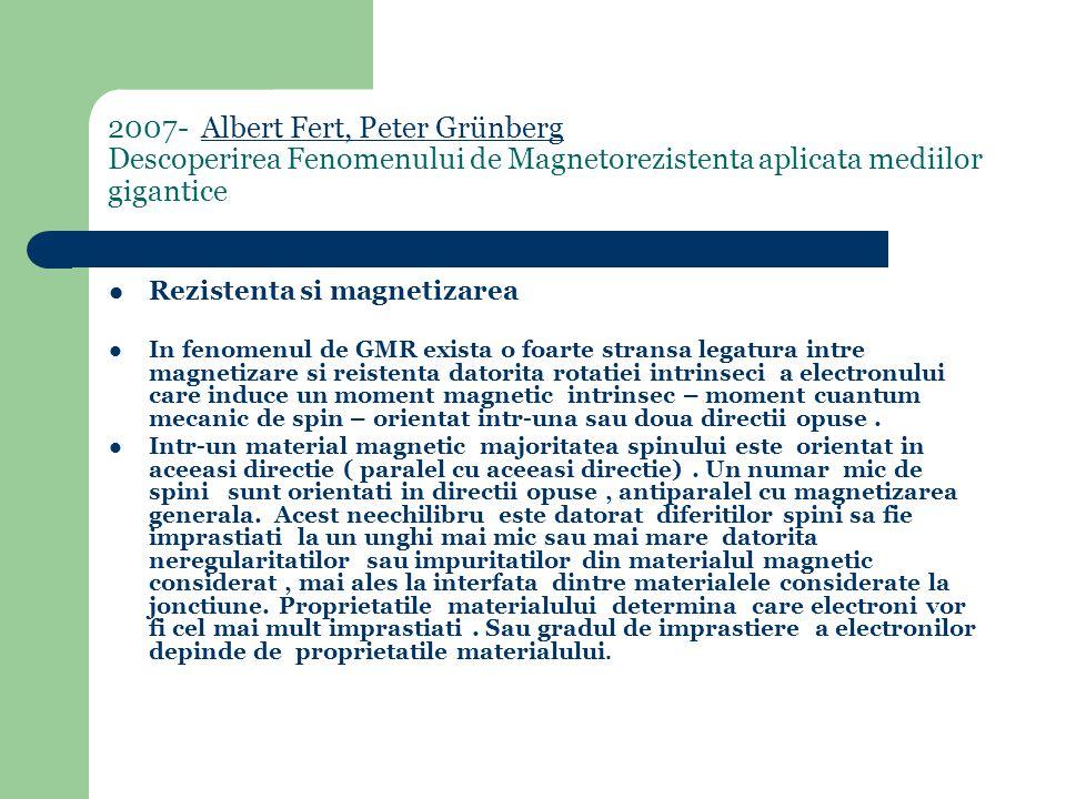 2007- Albert Fert, Peter Grünberg Descoperirea Fenomenului de Magnetorezistenta aplicata mediilor giganticeAlbert Fert, Peter Grünberg Rezistenta si magnetizarea In fenomenul de GMR exista o foarte stransa legatura intre magnetizare si reistenta datorita rotatiei intrinseci a electronului care induce un moment magnetic intrinsec – moment cuantum mecanic de spin – orientat intr-una sau doua directii opuse.