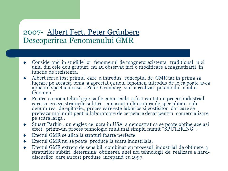 2007- Albert Fert, Peter Grünberg Descoperirea Fenomenului GMRAlbert Fert, Peter Grünberg Considerand in studiile lor fenomenul de magnetorezistenta traditional nici unul din cele dou grupuri nu au observat nici o modificare a magnetizarii in functie de rezistenta.