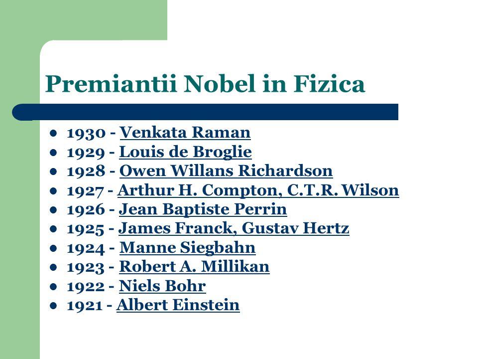 1930 - Venkata RamanVenkata Raman 1929 - Louis de BroglieLouis de Broglie 1928 - Owen Willans RichardsonOwen Willans Richardson 1927 - Arthur H.