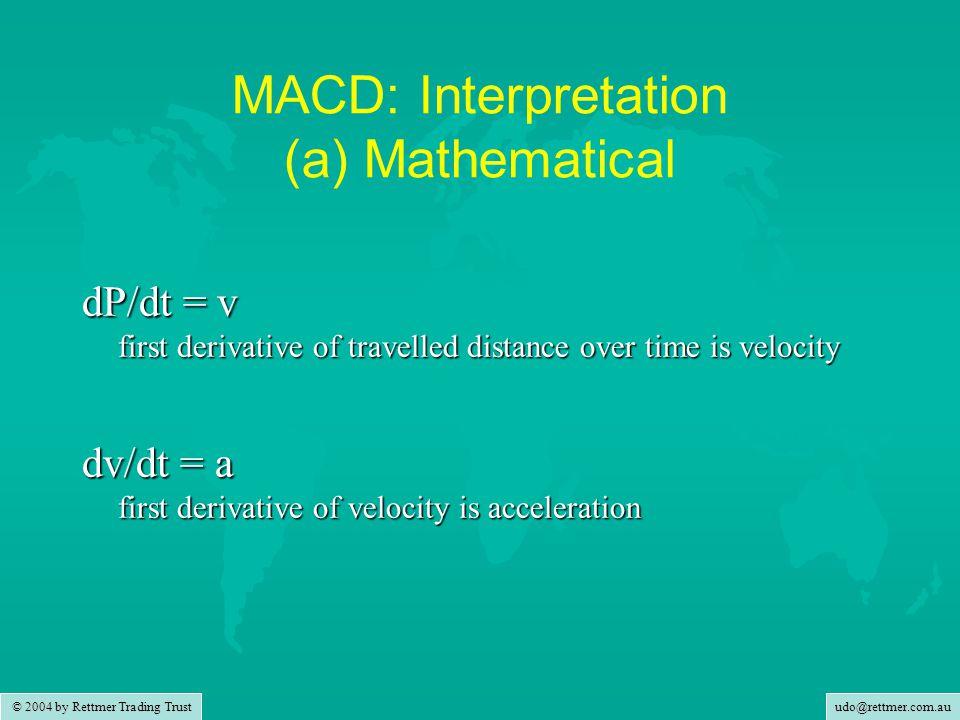 udo@rettmer.com.au © 2004 by Rettmer Trading Trust MACD: Interpretation (b) Road-wise Read red Delta line as Speed