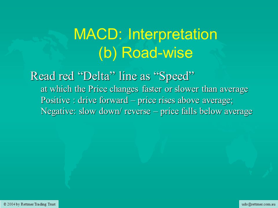 udo@rettmer.com.au © 2004 by Rettmer Trading Trust MACD: Interpretation (b) Road-wise Read red Delta line as Speed at which the Price changes faster or slower than average Positive : drive forward – price rises above average; Negative: slow down/ reverse – price falls below average