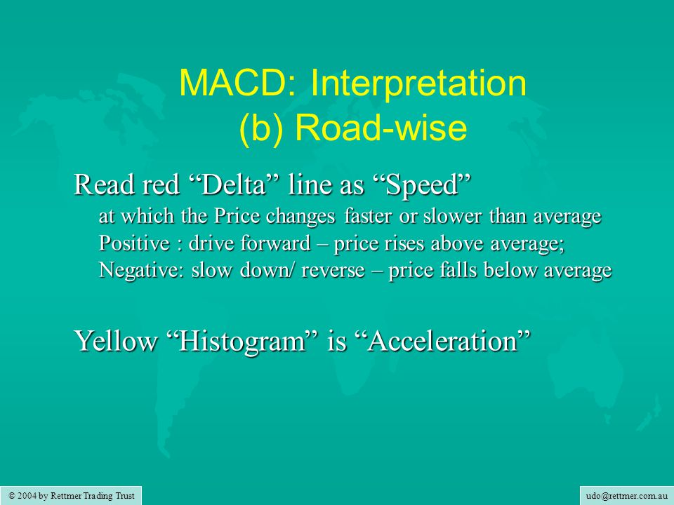 udo@rettmer.com.au © 2004 by Rettmer Trading Trust MACD: Interpretation (b) Road-wise Read red Delta line as Speed at which the Price changes faster or slower than average Positive : drive forward – price rises above average; Negative: slow down/ reverse – price falls below average Yellow Histogram is Acceleration at which the Speed changes faster or slower than average Positive : accelerate – increase the speed Negative: hit the brakes – slow down