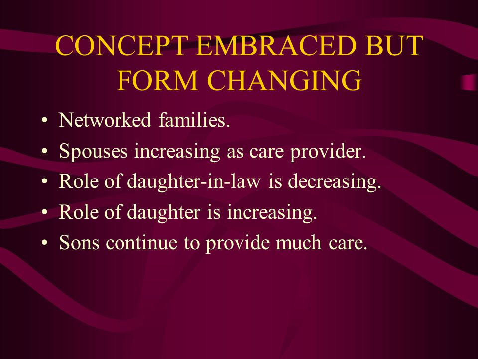 CONCEPT EMBRACED BUT FORM CHANGING Networked families.