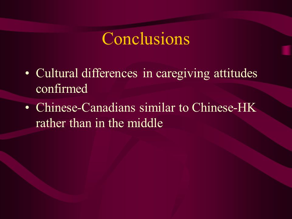 Conclusions Cultural differences in caregiving attitudes confirmed Chinese-Canadians similar to Chinese-HK rather than in the middle