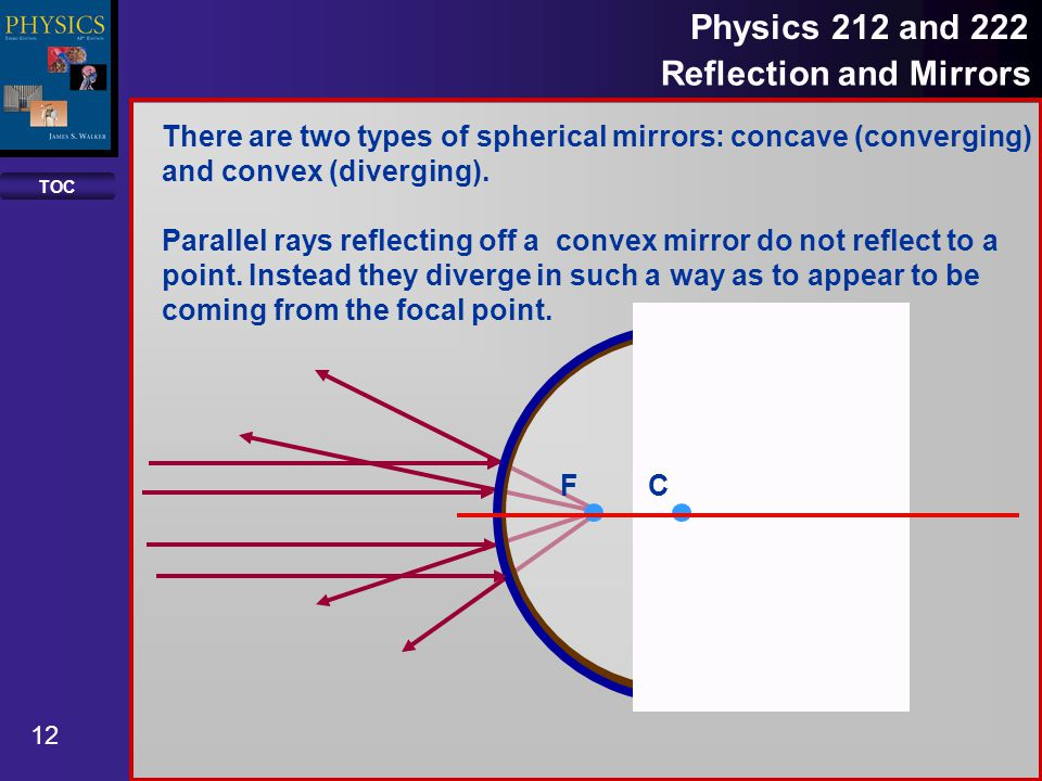 TOC 12 Physics 212 and 222 Reflection and Mirrors There are two types of spherical mirrors: concave (converging) and convex (diverging).