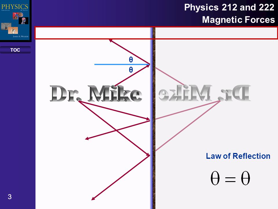 TOC 14 Physics 212 and 222 Reflection and Mirrors Although any ray may be traced to find out where an image points is, there are three principal rays that make the job easier.