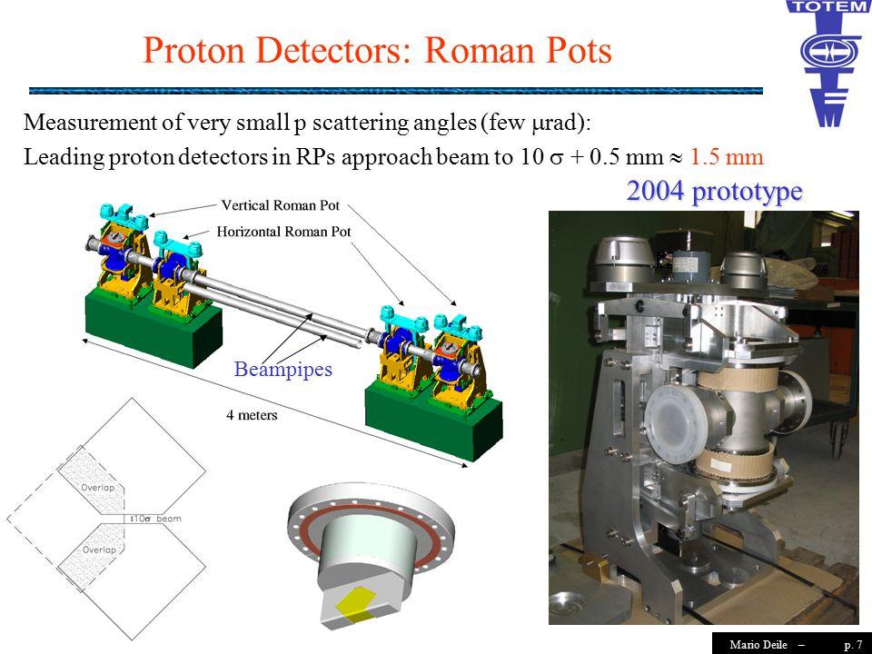 p. 7Mario Deile – Proton Detectors: Roman Pots Beampipes Measurement of very small p scattering angles (few  rad): Leading proton detectors in RPs ap