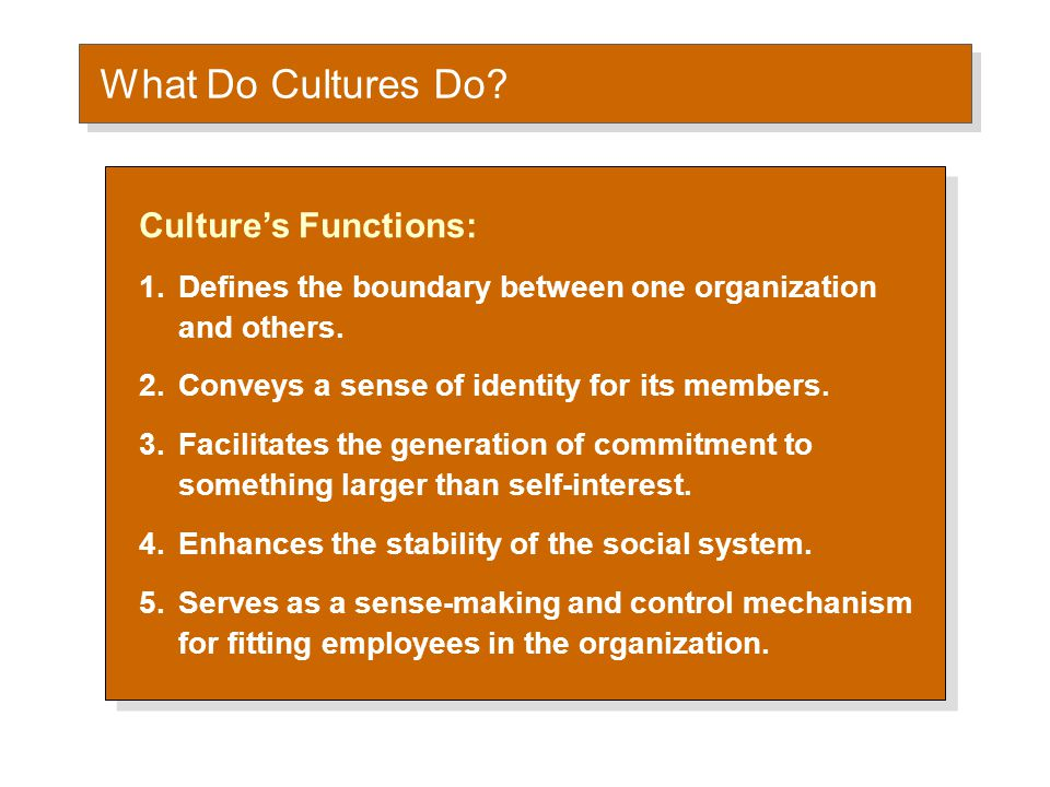 What Do Cultures Do? Culture's Functions: 1.Defines the boundary between one organization and others. 2.Conveys a sense of identity for its members. 3