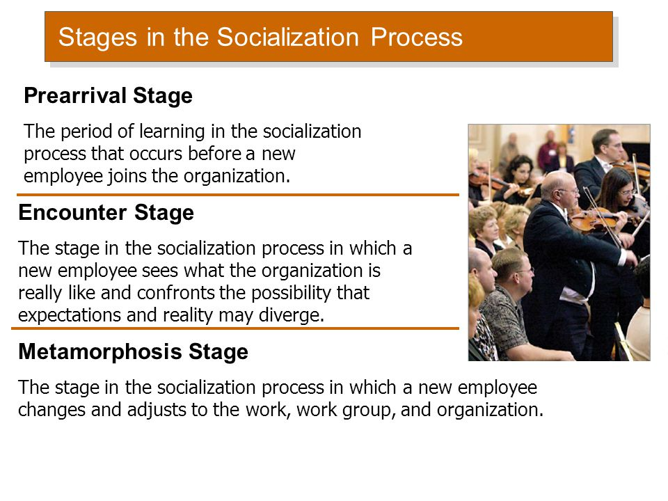 Stages in the Socialization Process Prearrival Stage The period of learning in the socialization process that occurs before a new employee joins the o