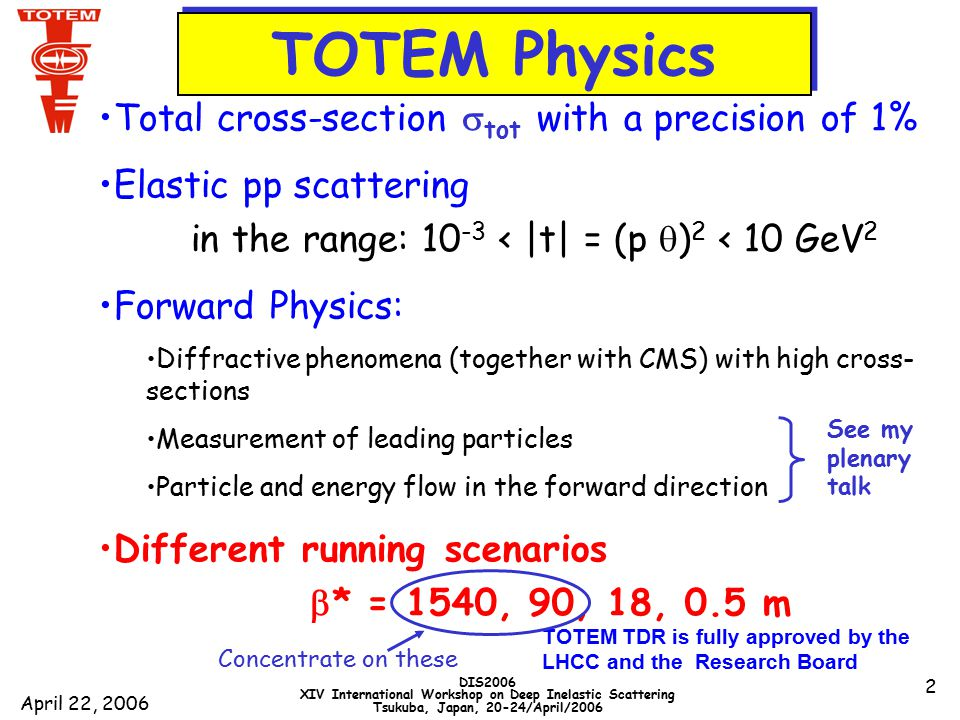April 22, 2006 DIS2006 XIV International Workshop on Deep Inelastic Scattering Tsukuba, Japan, 20-24/April/2006 2 TOTEM TDR is fully approved by the LHCC and the Research Board TOTEM Physics Total cross-section  tot with a precision of 1% Elastic pp scattering in the range: 10 -3 < |t| = (p  ) 2 < 10 GeV 2 Forward Physics: Diffractive phenomena (together with CMS) with high cross- sections Measurement of leading particles Particle and energy flow in the forward direction Different running scenarios  * = 1540, 90, 18, 0.5 m See my plenary talk Concentrate on these