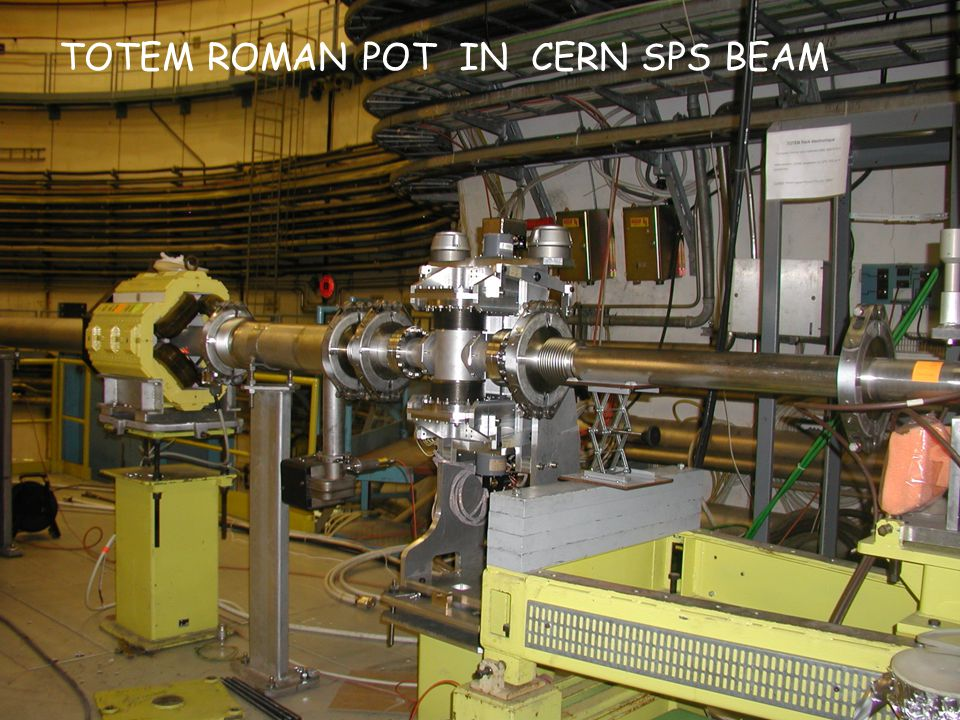 April 22, 2006 DIS2006 XIV International Workshop on Deep Inelastic Scattering Tsukuba, Japan, 20-24/April/2006 9 Roman Pot unit: - Measurement of very small p scattering angles (few  rad) - Vertical and horizontal pots mounted as close as possible - BPM fixed to the structure gives precise position of the beam - TOTEM at the RP:  beam ≈ 80  m - Leading proton detection at distances down to 10  beam + d - Need edgeless detectors that are efficient up to the physical edge to minimize d 0 reconstructed track Tracks Roman Pots Test beam data: RP in SPS beam and the detector is measuring the halo u,v info reconstructed tracks in y BPM