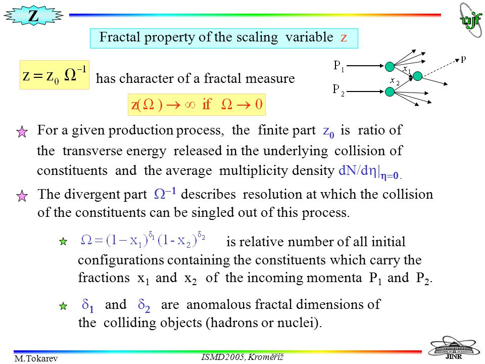 Z M.Tokarev ISMD2005, Kroměříž Fractal property of the scaling variable z has character of a fractal measure For a given production process, the finit