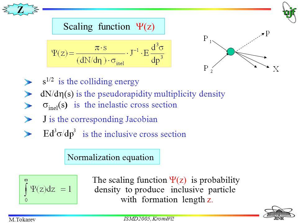 Z M.Tokarev ISMD2005, Kroměříž Scaling function  z  Normalization equation The scaling function  z  is probability density to produce inclusive