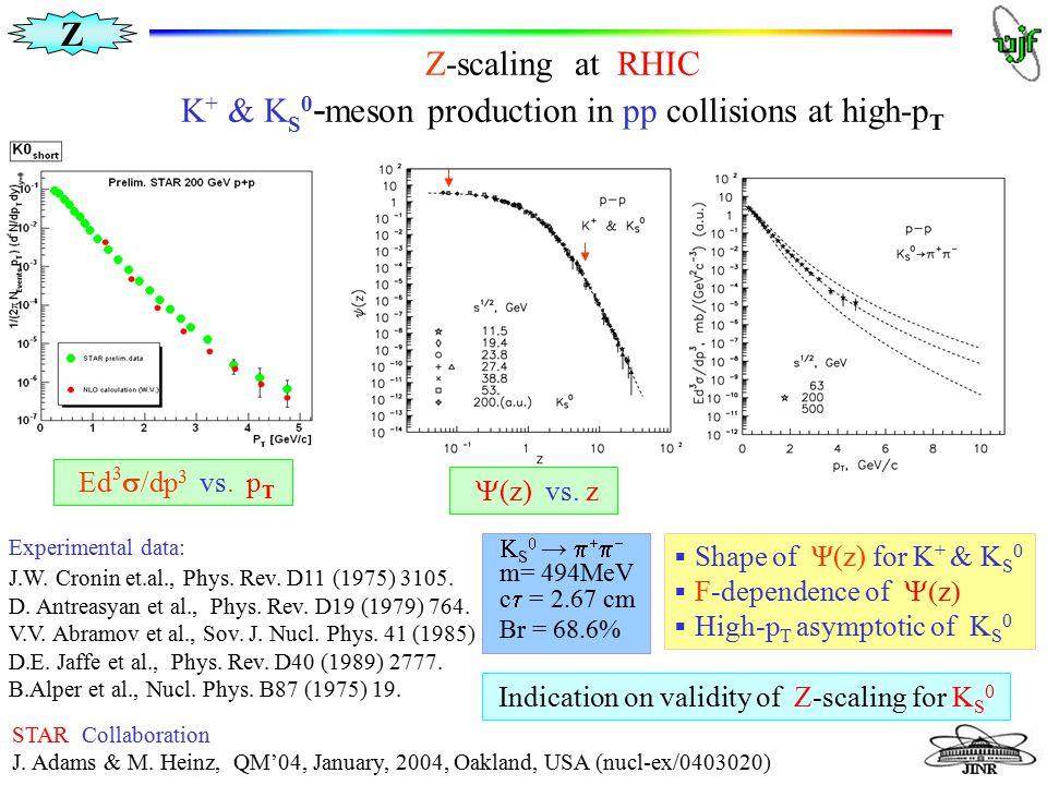 Z M.Tokarev ISMD2005, Kroměříž Z-scaling at RHIC K + & K S 0 - meson production in pp collisions at high-p T  Shape of Ψ(z) for K + & K S 0  F-depen