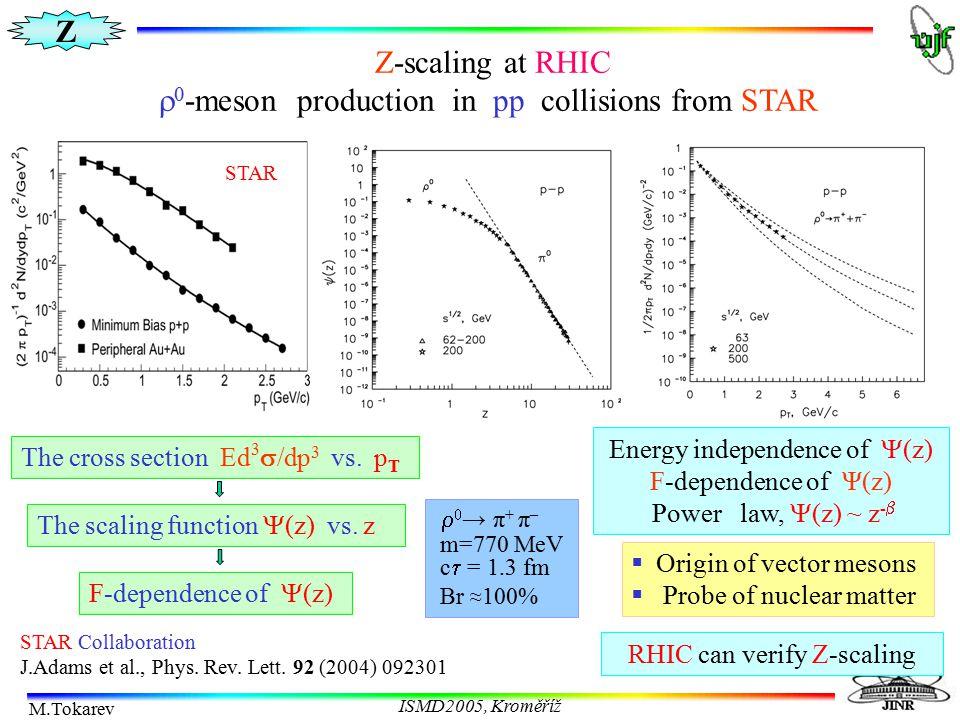 Z M.Tokarev ISMD2005, Kroměříž Z-scaling at RHIC   -meson production in pp collisions from STAR STAR Collaboration J.Adams et al., Phys. Rev. Lett.