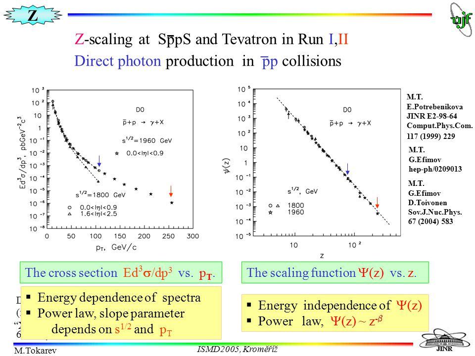 Z M.Tokarev ISMD2005, Kroměříž The cross section Ed 3  /dp 3 vs. p T.The scaling function  (z) vs. z.  Energy independence of  (z)  Power law, 