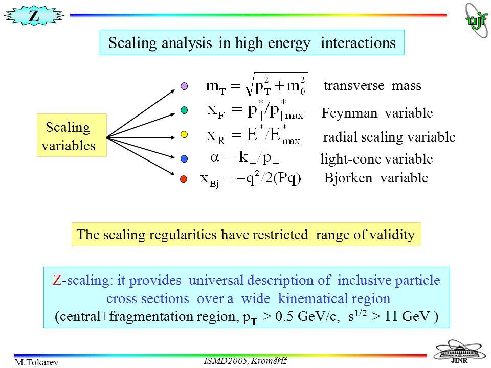 Z M.Tokarev ISMD2005, Kroměříž Multiplicity independence of Z-scaling at RHIC Charged hadron spectra vs.