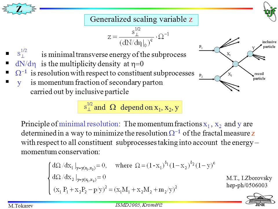 Z M.Tokarev ISMD2005, Kroměříž Generalized scaling variable z  is minimal transverse energy of the subprocess  dN/d  is the multiplicity density at