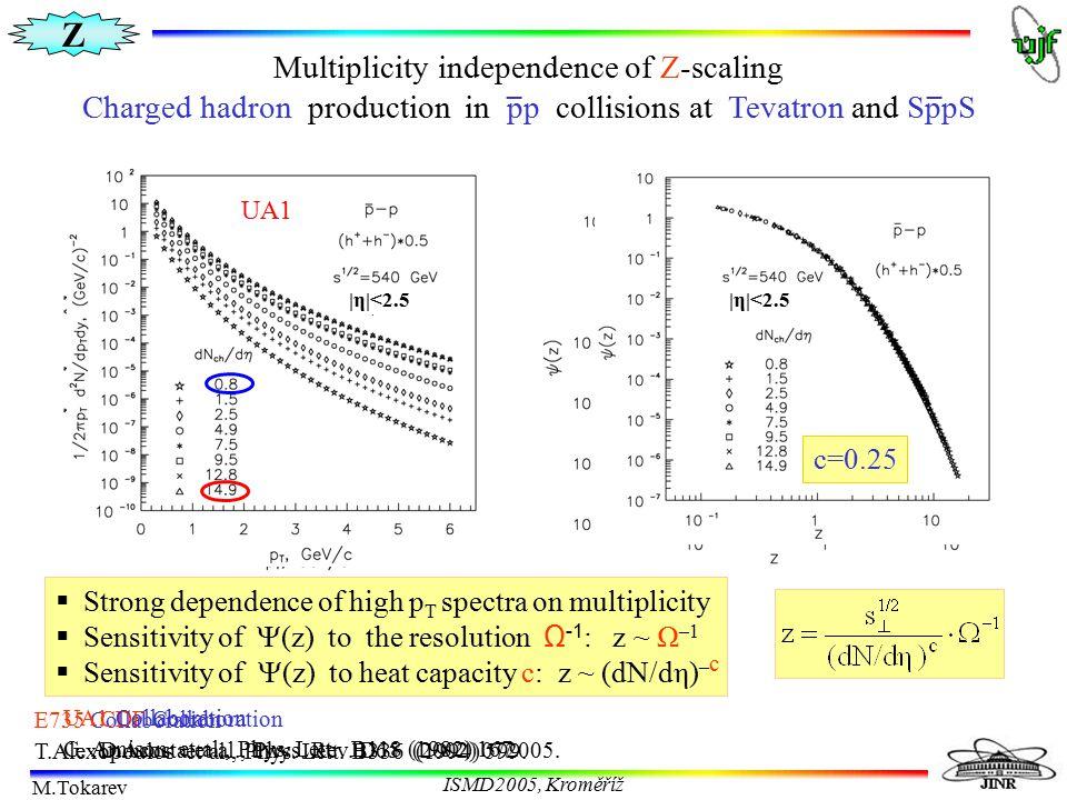 Z M.Tokarev ISMD2005, Kroměříž  Strong multiplicity dependence of high p T spectrum  Sensitivity of  (z) to parameter c: z ~ (dN/dη) –c E735 Collab