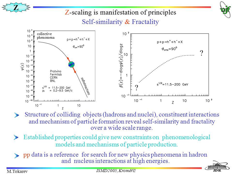 Z M.Tokarev ISMD2005, Kroměříž STAR preliminary   spectrum A.Suaide RHIC Z-scaling is manifestation of principles Self-similarity & Fractality Tra