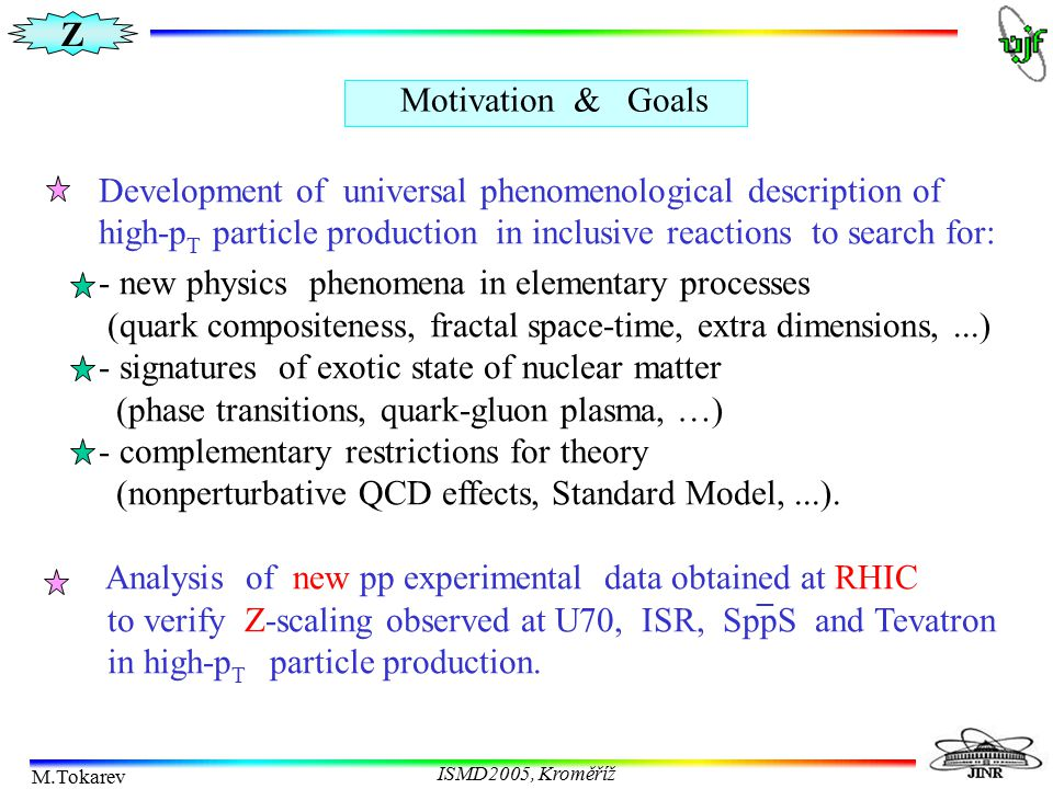 Z M.Tokarev ISMD2005, Kroměříž Z-scaling at RHIC Charged hadron production in pp collisions from STAR STAR confirms Z-scaling Phys.Rev.Lett.