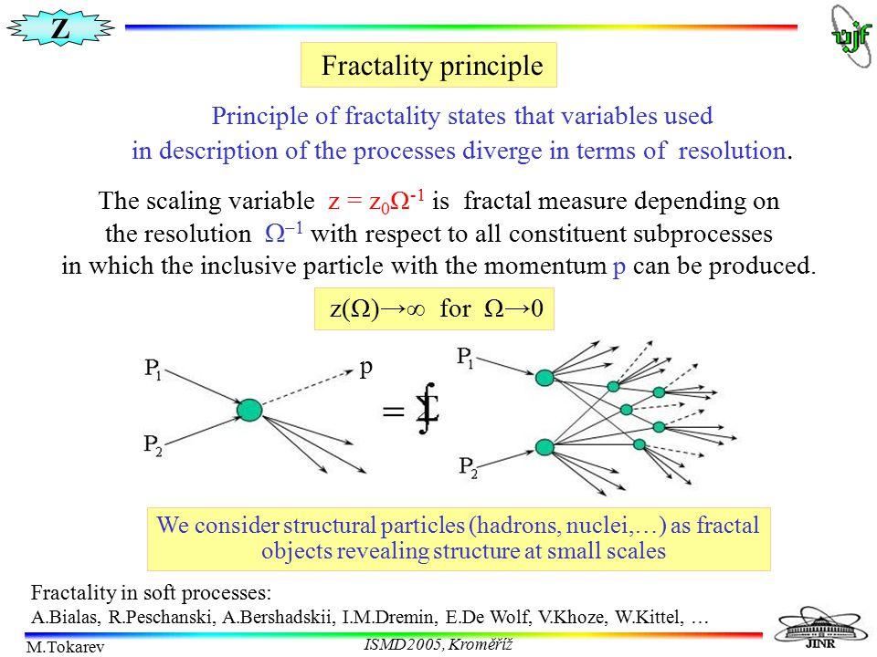 Z M.Tokarev ISMD2005, Kroměříž Fractality principle Principle of fractality states that variables used in description of the processes diverge in term