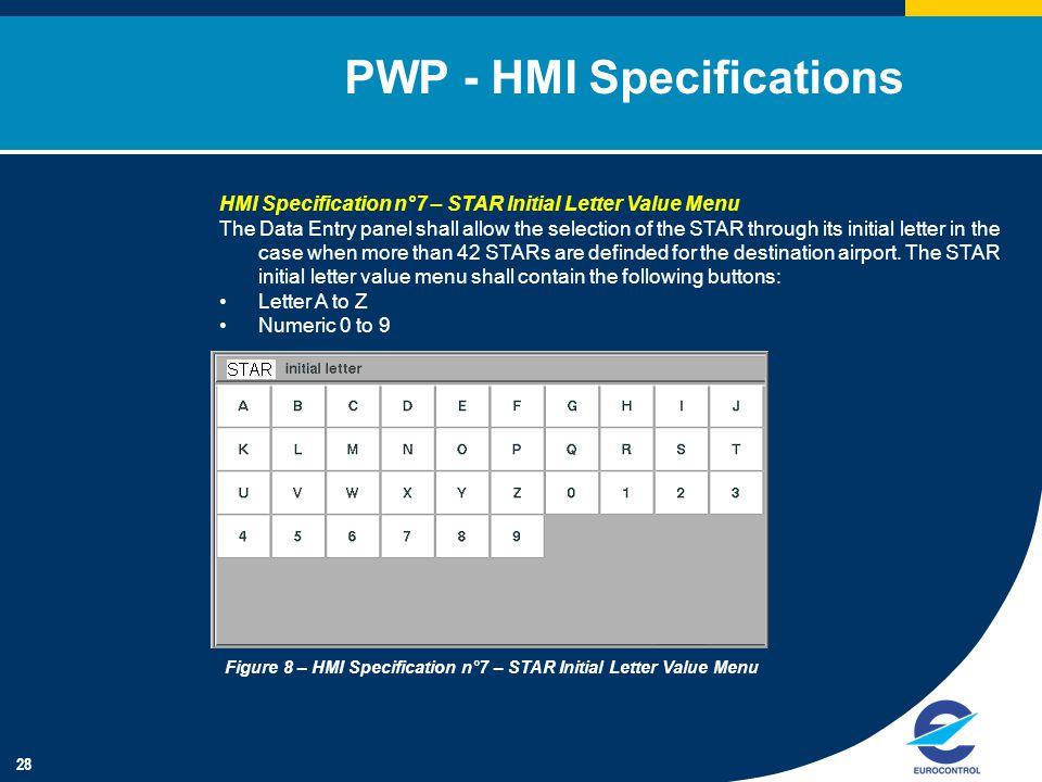 28 PWP - HMI Specifications HMI Specification n°7 – STAR Initial Letter Value Menu The Data Entry panel shall allow the selection of the STAR through its initial letter in the case when more than 42 STARs are definded for the destination airport.
