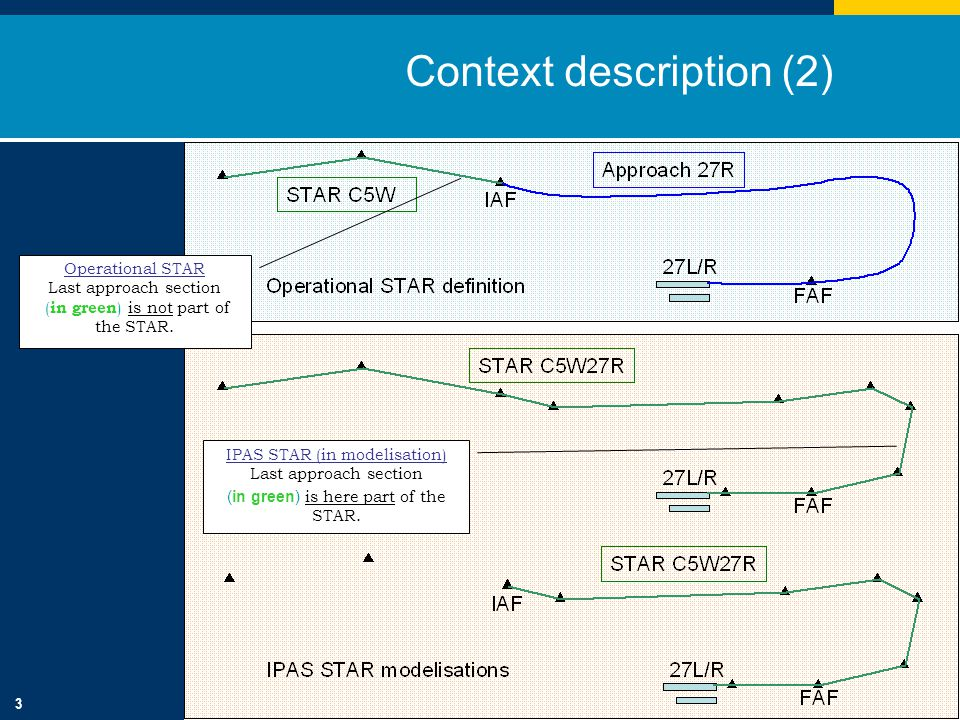 3 Context description (2) Operational STAR Last approach section ( in green ) is not part of the STAR.