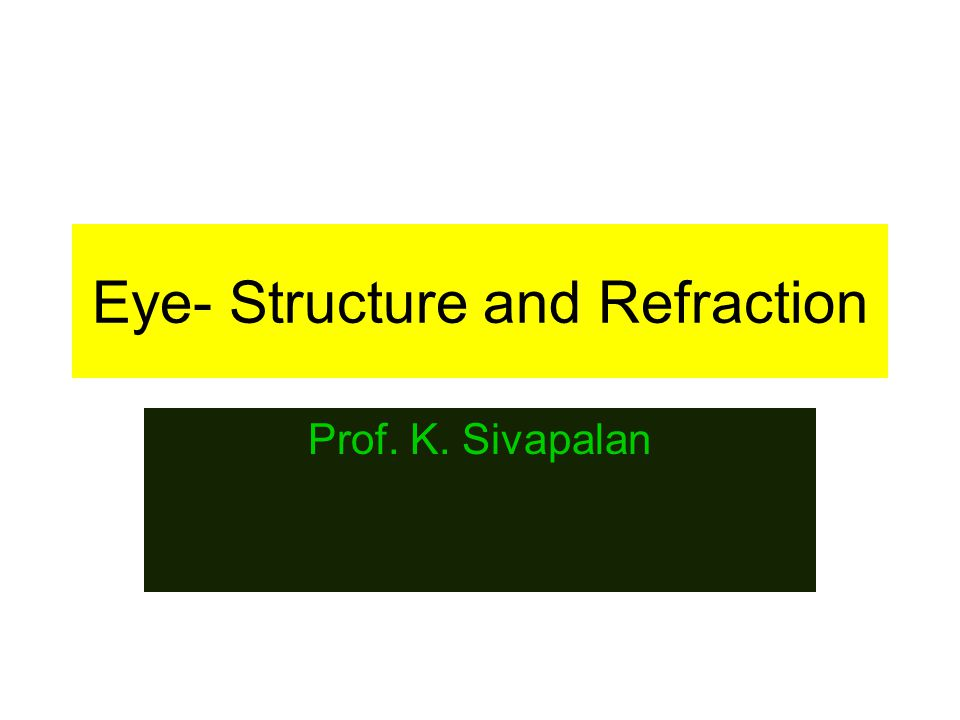 Eye- Structure and Refraction Prof. K. Sivapalan