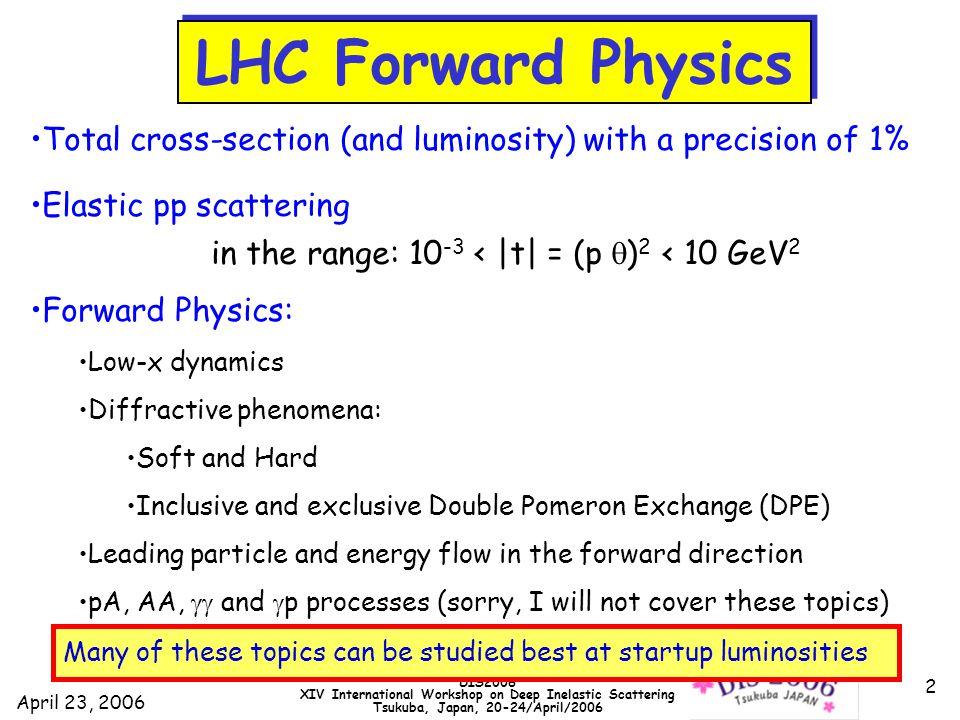 April 23, 2006 DIS2006 XIV International Workshop on Deep Inelastic Scattering Tsukuba, Japan, 20-24/April/2006 33 Forward physics: connection to cosmic rays ALICE TOTEM LHCf